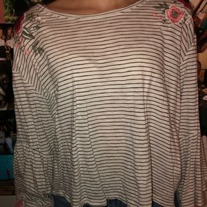 cute light striped and floral long sleeve